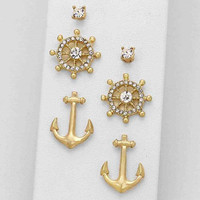 Gold Anchor 3 Earring Set