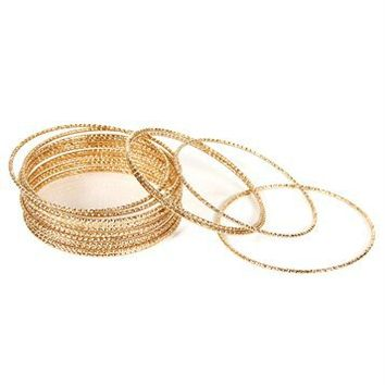 Gold Diamond Cut Braclet Set