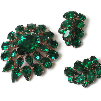 Green Rhinestone Brooch  Earrings Demi Set 1960s Vintage Mid Century Modern