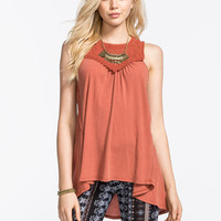 Others Follow High Neck Fanciful Womens Top Rust  In Sizes