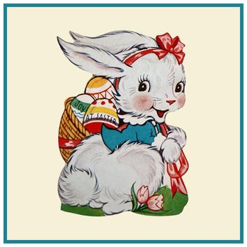 Vintage Bunny in Pink Bow with Basket of Decorated Easter Eggs Counted Cross Stitch or Counted Needlepoint Pattern