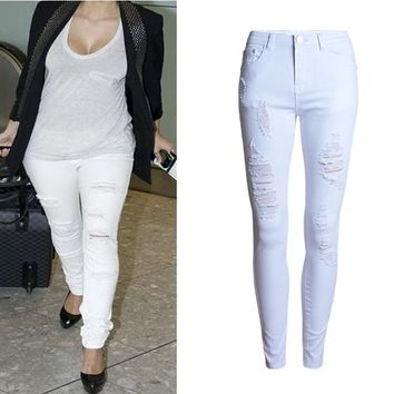 Fitted Ripped Jeans Full Length White Denim Mid Waist Skinny Jeans