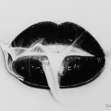 Smoke Lips Art Print by Roman0701