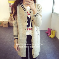 Korean Institute of wind stripes spell color knit cardigan jacket and long sections