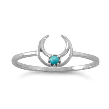 Sterling Silver 2mm Genuine Turquoise Crescent Moon Ring
