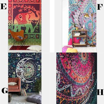 LMF9GW New Elephant Tapestry Colored Printed Decorative Mandala Tapestry Indian Boho Wall Carpet 130cmx150cm 153cmx203cm  For Choice