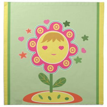 Cute Yellow Pink Flower Shape Girl Cloth Napkins