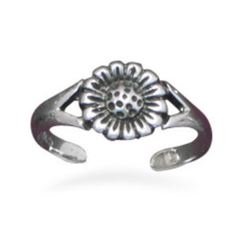 Oxidized Sunflower Toe Ring