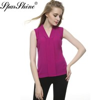 New Fashion  Women's Colourful V Neck Summer Chiffon Blouses Cute Sleeveless Shirts Casual Slim