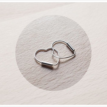 Mini Heart Hoop Earrings - Sterling Silver Hoop Earrings - Gift for Her - Simple Minimalist Everyday Jewelry LITTIONARY