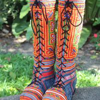 Womens Boho Boots In Orange Ethnic Hmong Embroidery With Indigo Batik Lace Up Vegan