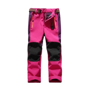 Befusy Girls Boys Winter Outdoor Sports Hiking Pants Patchwork Anti-Tear Softshell Kids' Fleece Windproof Warm Trousers for Ski
