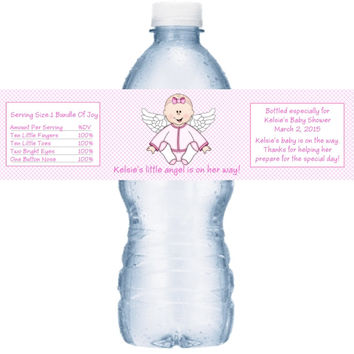 Baby Girl Angel Shower Personalized Water Bottle Labels