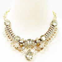 Teardrop crystal glass beaded collar necklace