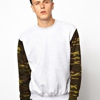 Reclaimed Vintage Sweat with Camo Sleeves