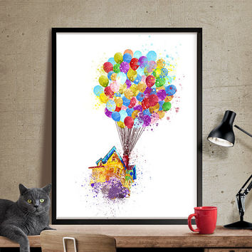 Up movie, Pixar up, Disney Watercolor Art, Disney Pixar Up Flying House, Nursery Watercolor Art, Wall Art Print, Kids wall art (285)