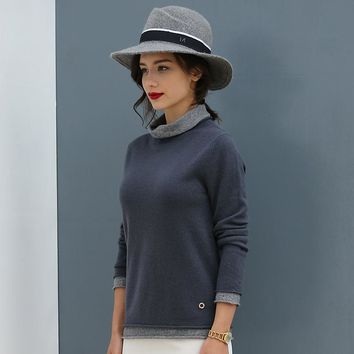 New women pure colour cashmere sweater turtle neck sweater
