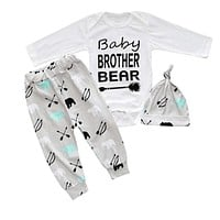 Baby Girls Clothing Sets Letter Prints Rompers+Hat+Pants For Baby Boys Newborn Clothing Suits
