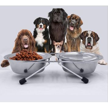 Double Stainless Steel Dog Bowls With Stand Feeder