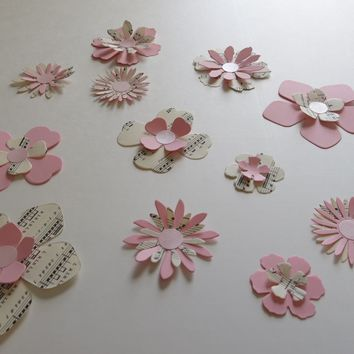 Sheet Music and Pink Paper Wall Flower Stickers, Floral Wall Decals, Stick Anywhere!
