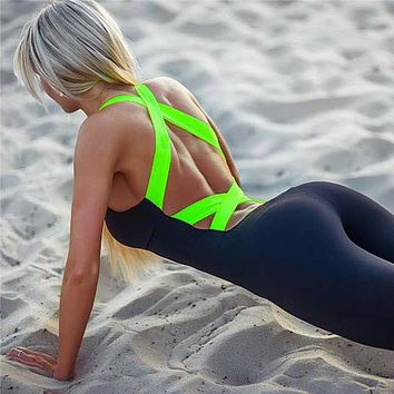 Sexy women bandage yoga pants trousers leggings workout fitness tights jumpsuit backless clothes one piece sportswear 4 colors
