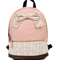 Cute Lace Pink or Brown Bow Backpack