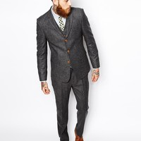 ASOS Slim Fit Suit Jacket In Herringbone