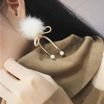 ac spbest 2016 Korean Winter New Accessories Mink Pom Pom Simulated Pearl Jwelry Pendant Elegant Bowknot Earrings For Girls Fashion