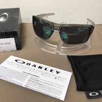 New $153 Oakley Double Edge Sunglasses OO9380-0366 Grey Ink | Jade Iridium Lens