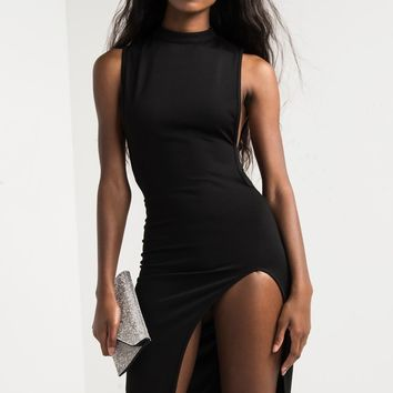 Black O-Neck Sleeveless A-Line Knee-Length Club Dress