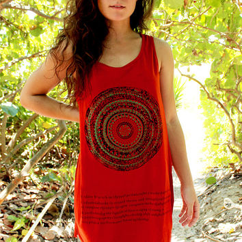Red Tunic with Hippy Tribal Design - Bohemian Style by HOBO IslandWear