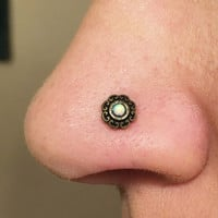 Opal Heart Gold Nose Ring Gold Nose Stud