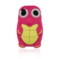 Hot Cute Turtle Animal Silicone Case for Iphone 4 and 4S-Pink