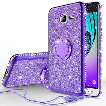Samsung Galaxy J3,  Galaxy J3 V Case, Glitter Cute Phone Case Girls with Kickstand,Bling Diamond Rhinestone Bumper Ring Stand Sparkly Luxury Clear Thin Soft Protective Samsung Galaxy J3 Case for Girl Women - Purple