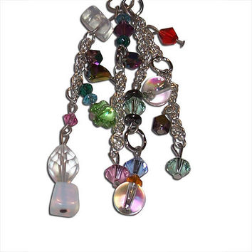 Multi-Colored Crystal, Glass, and Chain Earrings