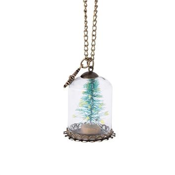 Fashion Ladies Creative Gift Wishes Bottle Necklace Pendant Glass Dome Cover Christmas Tree Necklaces Jewelry for Women
