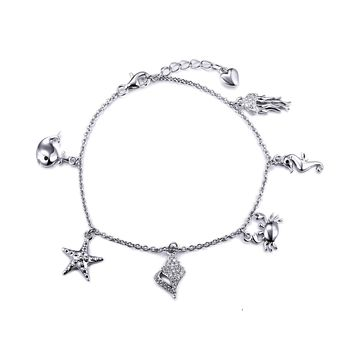 Alana Charm Bracelet, Starfish Seahorse Whale Seashell Charms, 925 Sterling Silver