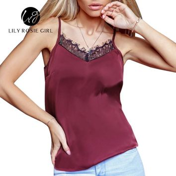 2018 Satin Women's Shirt Mike Strap Elegant Crop Top Sexy V neck Camis Women Short Sleepwear Female Lace Top Summer Party Blusa