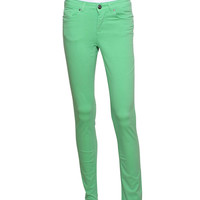 Apple Green High Waisted Slim Leg Jeans