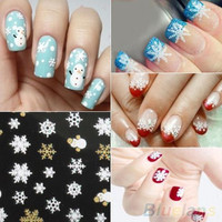 Snowflakes Snowman 3D Nail Art Stickers Decals Winter Holiday Fingernail Accessories