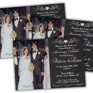 Silvery Chalkboard 25th Anniversary Party Invitations - 25th Wedding Anniversary Party - 25th Anniversary Party - Photo Anniversary Invites