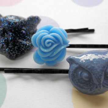 Black and Blue Resin Owl Hairpins - Set of 3