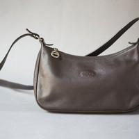 Longchamp Bag Small Dark Brown. Vintage Cross Body Bag Genuine leather. Authentic Longchamp Bag Brown. Parisian Women's Shoulder Bag Retro