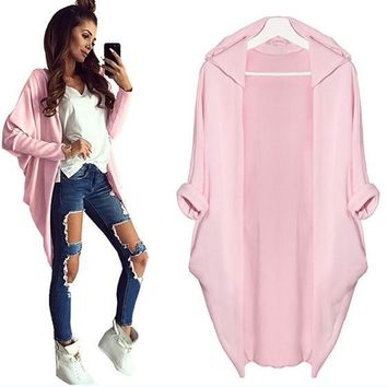 Pink Plain Irregular Hooded Casual Cardigan Coat
