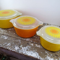 Daisy Pyrex Orange and Yellow Pyrex Casserole Dishes Sunflower Pyrex Mod Decor