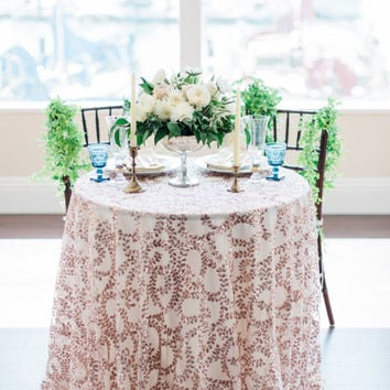 Vine Sequin Table Linens | Rose Gold Sequin Tablecloth