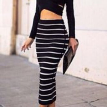 Black Long Sleeve Crop Top and  Bodycon Striped Skirt