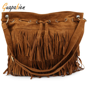 Guapabien 2017 Tassel Suede Bucket Bag Women Shoulder Bags Ladies Big Vintage Crossbody Messenger Bag Solid Fringe Handbags