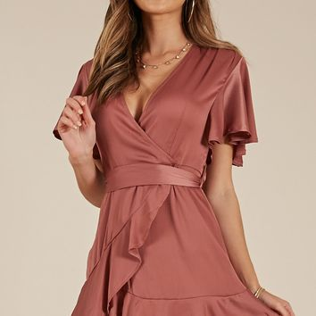 Thin Ice dress in rose sateen Produced By SHOWPO
