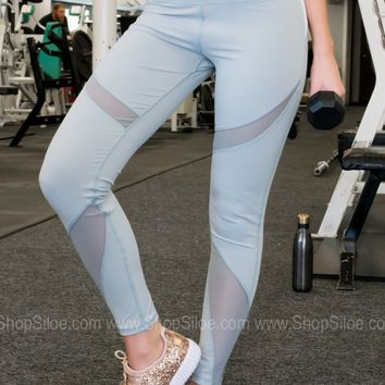 Athletic Sports Leggings | Soft Blue